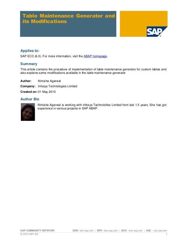 SAP COMMUNITY NETWORK SDN - sdn.sap.com | BPX - bpx.sap.com | BOC - boc.sap.com | UAC - uac.sap.com © 2010 SAP AG 1 Table ...