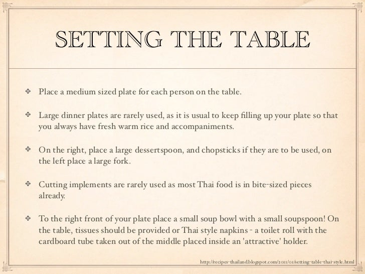 Thai Table Manners