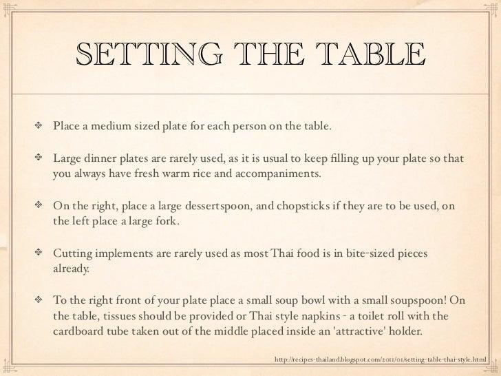 SETTING ...  sc 1 st  SlideShare & Thai Table manners