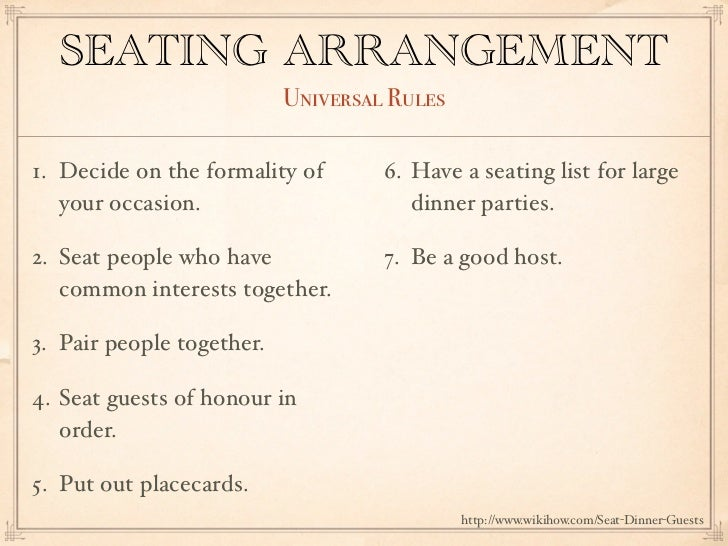 SEATING ARRANGEMENT Universal Rules1