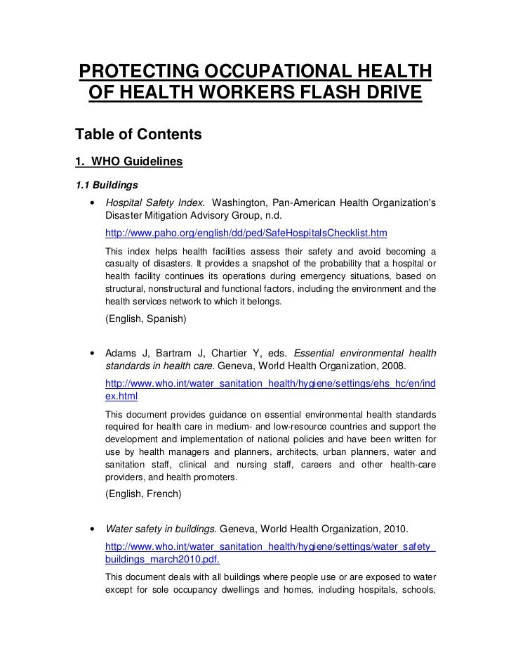 PROTECTING OCCUPATIONAL HEALTH OF HEALTH WORKERS FLASH DRIVETable of Contents1. WHO Guidelines1.1 Buildings   •   Hospital...