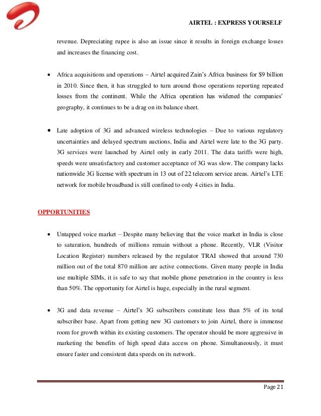 case study of bharti airtel acquires zain africa Is, case study method and thereby perform a unit of analysis and cross-case   bharti airtel and south african-based mtn group  the same strategy where it  acquired zain telecom after negotiations broken with mtn the.