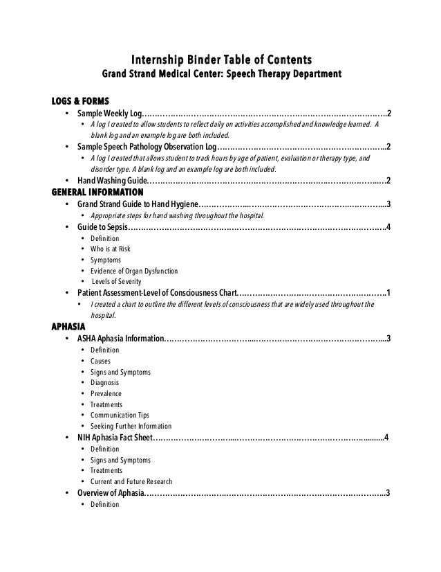 intern binder table of contents