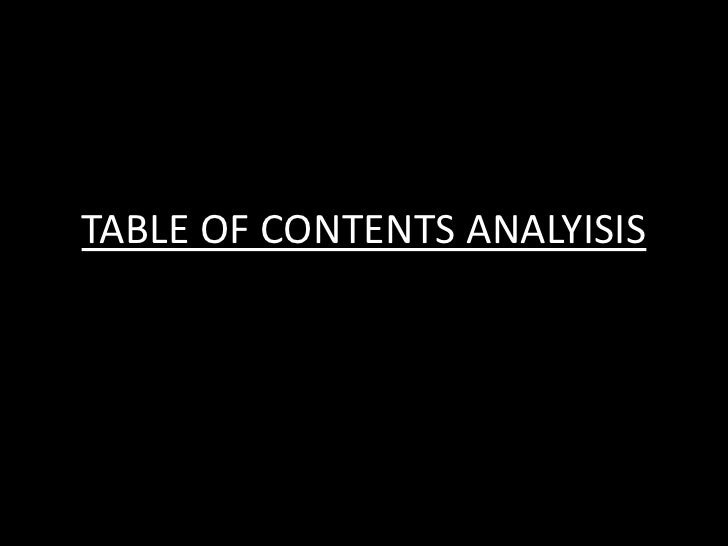 TABLE OF CONTENTS ANALYISIS