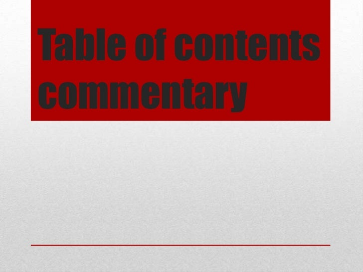 Table of contentscommentary