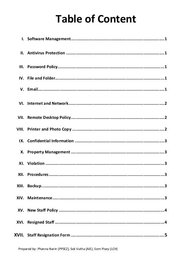 Table of contents it policy for group of company1 for Table of contents