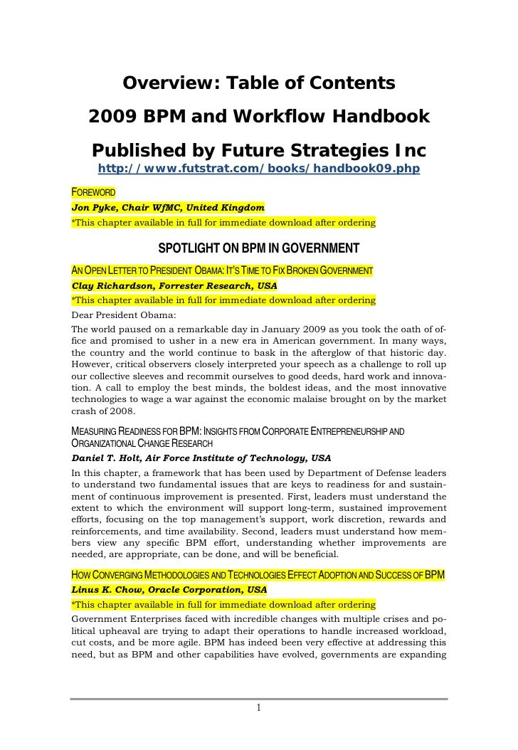 Overview: Table of Contents    2009 BPM and Workflow Handbook     Published by Future Strategies Inc       http://www.futs...