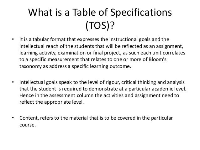 Table Of Specifications Bloom Taxonomy Sample