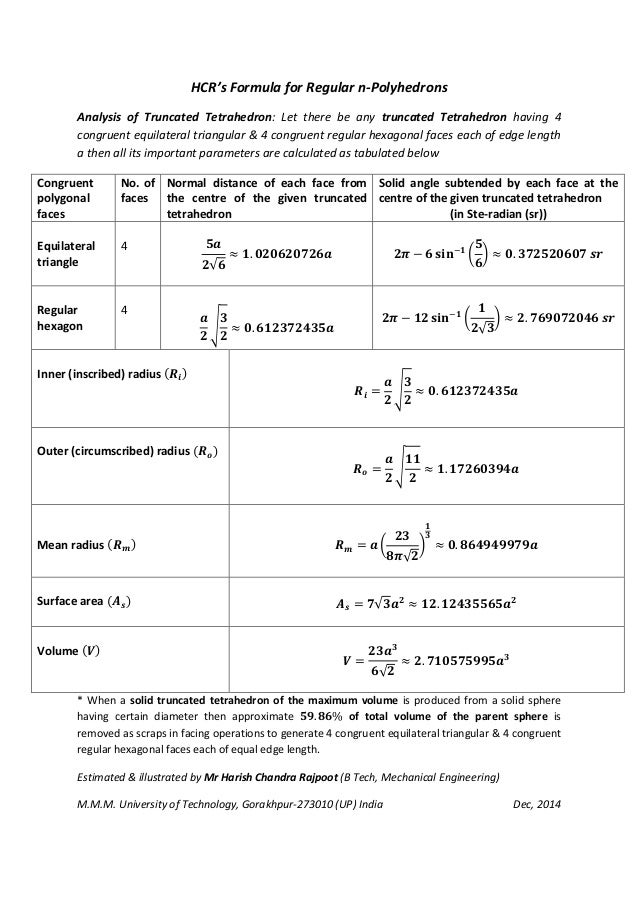 HCR's Formula for Regular n-Polyhedrons Analysis of Truncated Tetrahedron: Let there be any truncated Tetrahedron having 4...