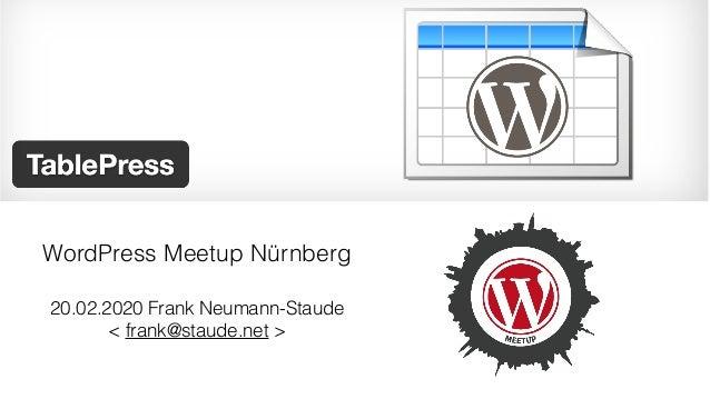 20.02.2020 Frank Neumann-Staude < frank@staude.net > WordPress Meetup Nürnberg