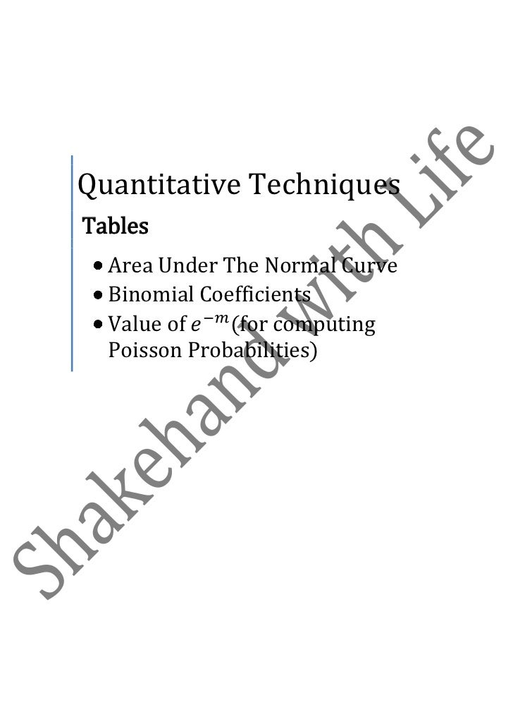 Quantitative TechniquesTables  Area Under The Normal Curve  Binomial Coefficients  Value of    (for computing  Poisson Pro...
