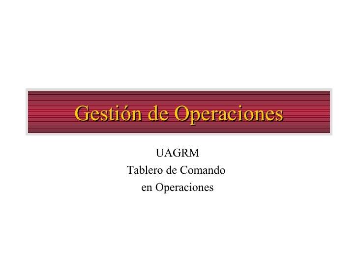 Gestión de Operaciones UAGRM Tablero de Comando  en Operaciones