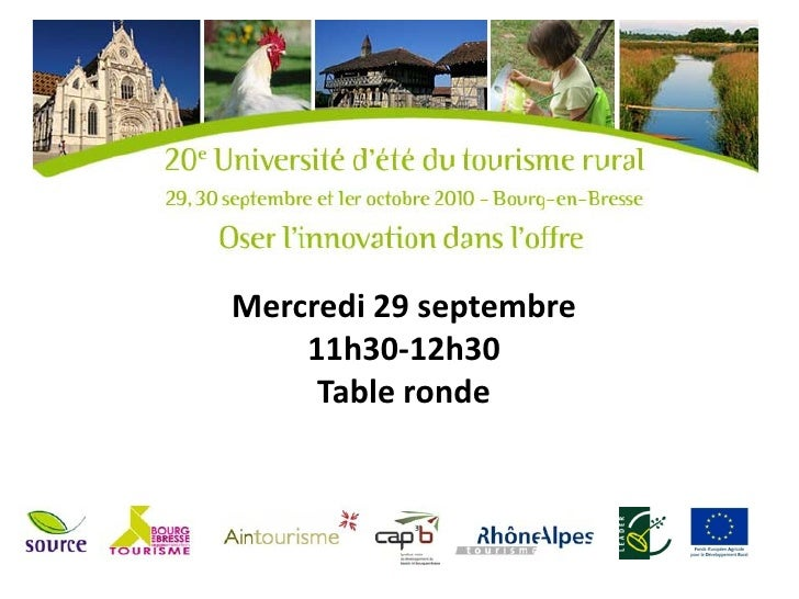 Mercredi 29 septembre    11h30-12h30     Table ronde