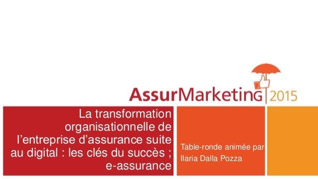 La transformation organisationnelle de l'entreprise d'assurance suite au digital : les clés du succès ; e-assurance Table-...