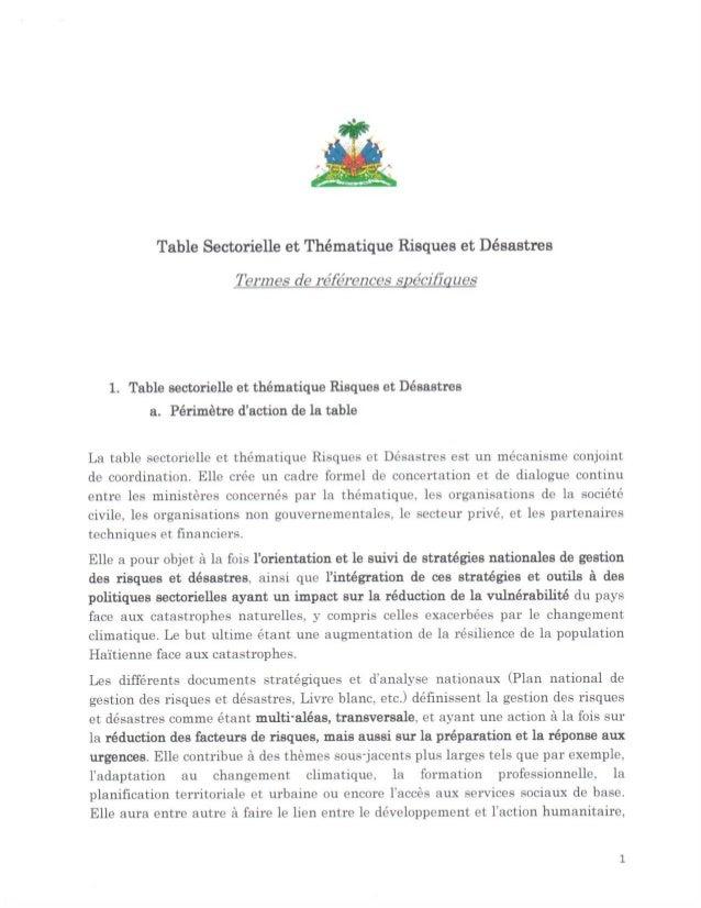 Table Sectorielle et Thématique Risques et Désastre • Termes de Références Spécifiques