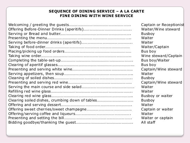 All staff  12  SEQUENCE OF DINING SERVICE  Table service. Fine Dining Table Service Rules. Home Design Ideas