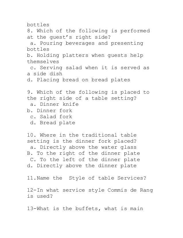 Table service quiz#1