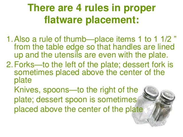 Table Setting - Proper table setting placement