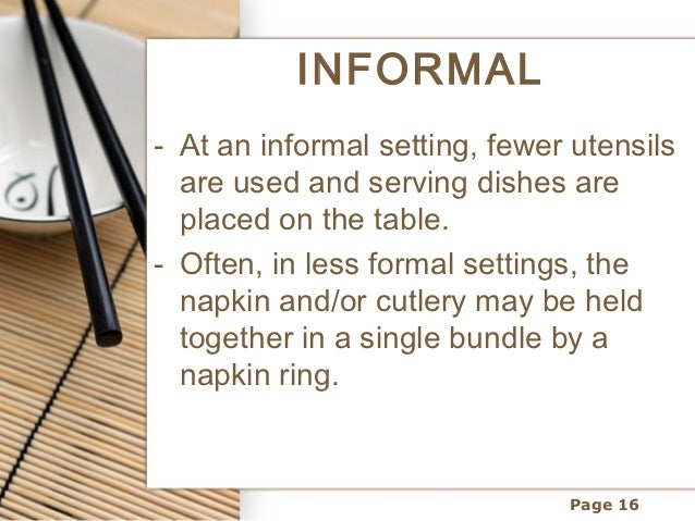 INFORMAL- At an informal setting ...  sc 1 st  SlideShare & Table setting and meal service