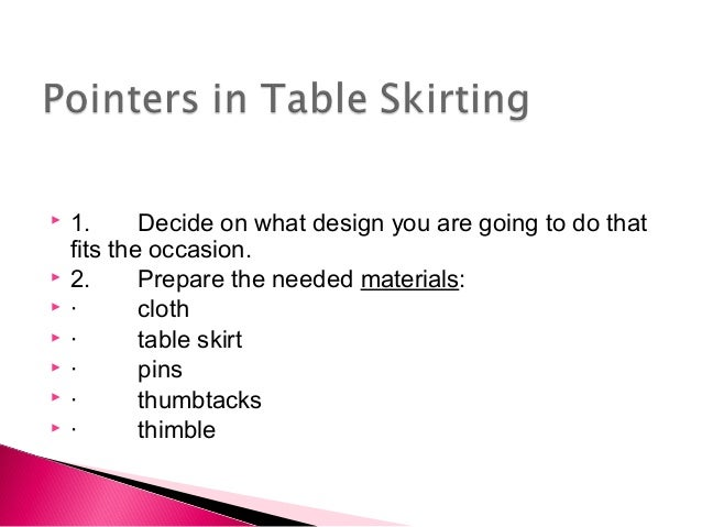 Table skirting for Table design meaning