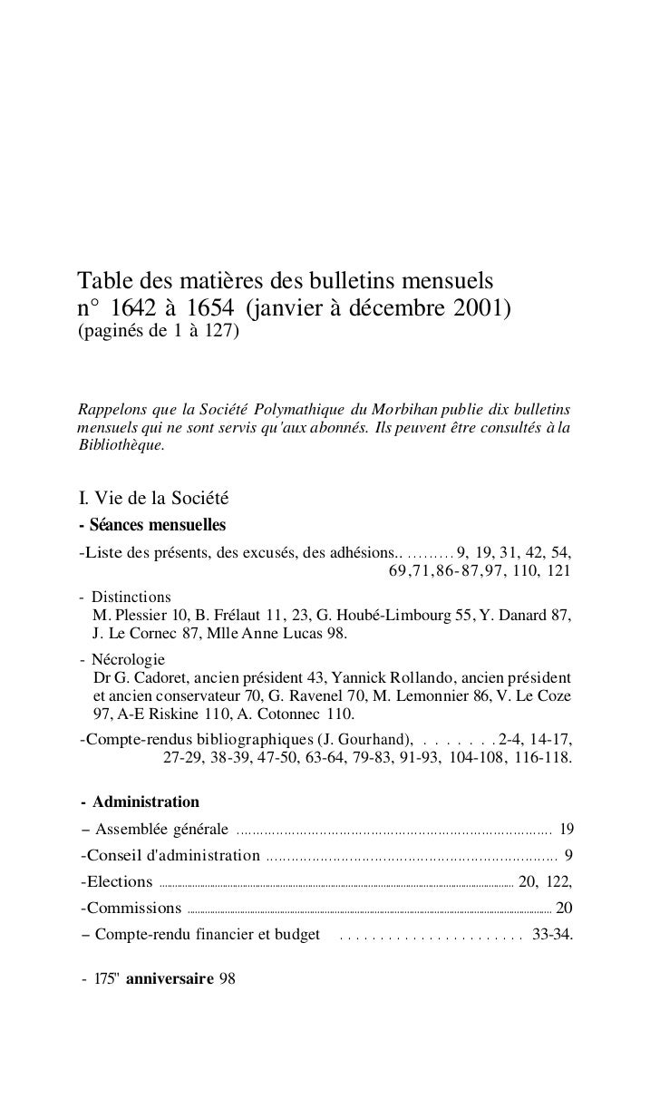Table des matières des bulletins mensuelsn° 1642 à 1654 (janvier à décembre 2001)(paginés de 1 à 127)Rappelons que la Soci...