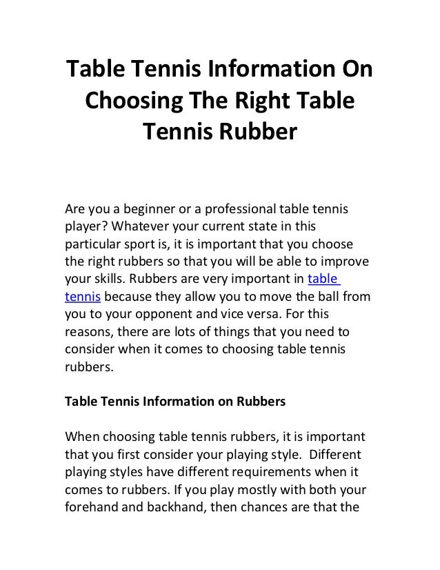 Finding The Right Furniture For A Stylish Home: Table Tennis Information On Choosing The Right Table