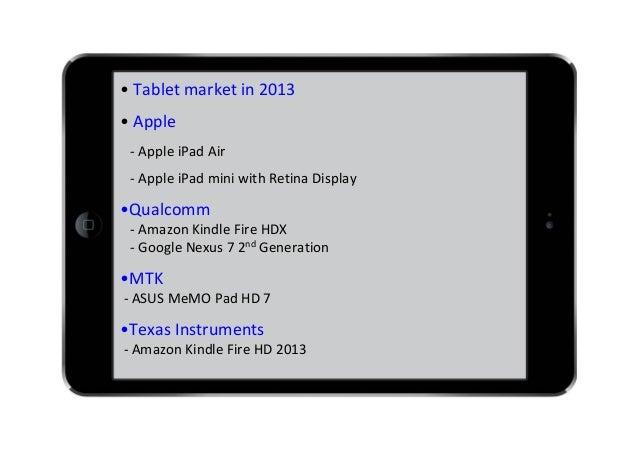 • Tabletmarketin2013 • Apple ‐ AppleiPad Air ‐ AppleiPad miniwithRetinaDisplay  •Qualcomm ‐ AmazonKindleFireHDX...