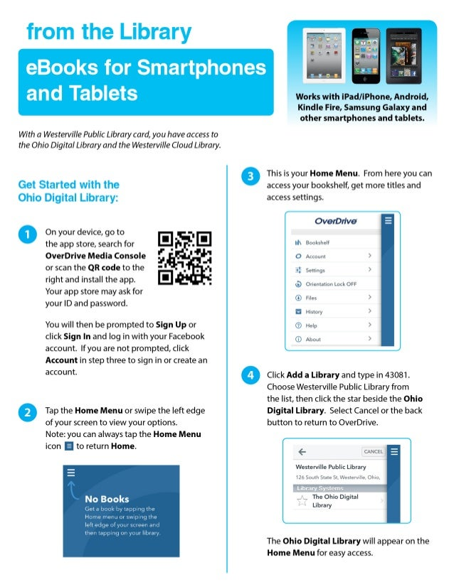 from the Library  eBooks for Smartphones  and Tablets     With a Westerville Public Library card,  you have access to the ...