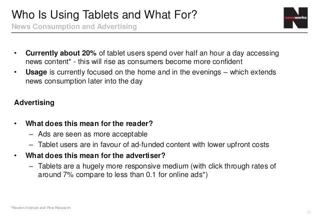 Who Is Using Tablets and What For?News Consumption and Advertising  •     Currently about 20% of tablet users spend over h...