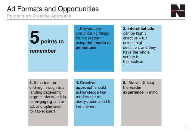 Ad Formats and OpportunitiesPointers on Creative Approach                                  1. Beware over-       2. Inters...