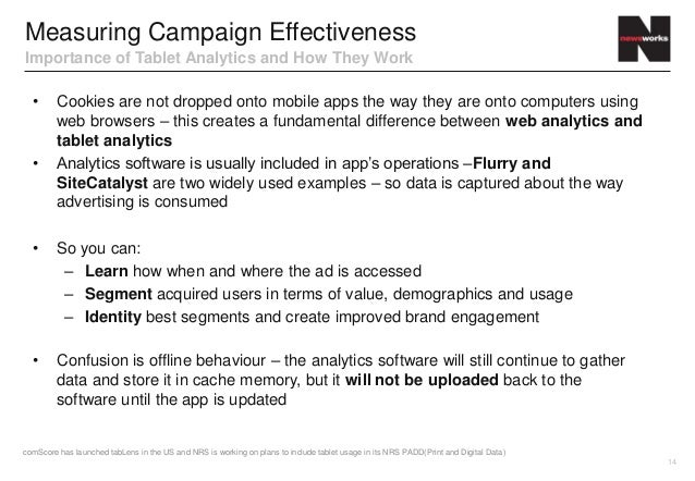 Measuring Campaign EffectivenessImportance of Tablet Analytics and How They Work  •      Cookies are not dropped onto mobi...