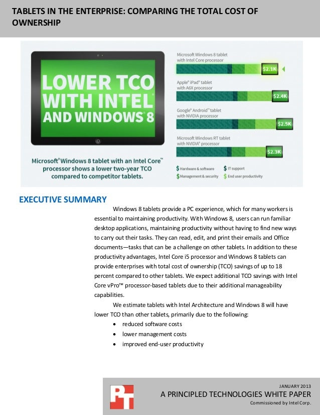 TABLETS IN THE ENTERPRISE: COMPARING THE TOTAL COST OFOWNERSHIP EXECUTIVE SUMMARY                          Windows 8 table...