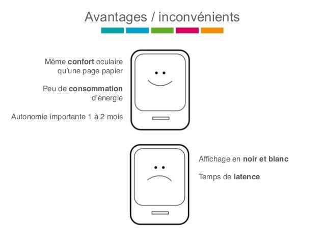 Avantages / inconvénients Même confort oculaire qu'une page papier Peu de consommation d'énergie Autonomie importante 1 à ...