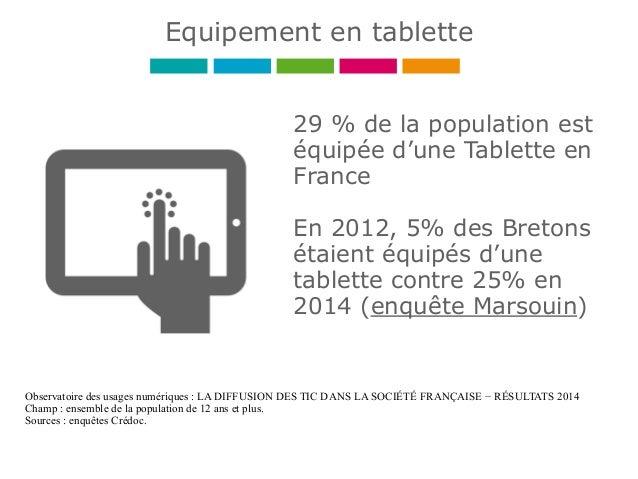 29 % de la population est équipée d'une Tablette en France En 2012, 5% des Bretons étaient équipés d'une tablette contre 2...