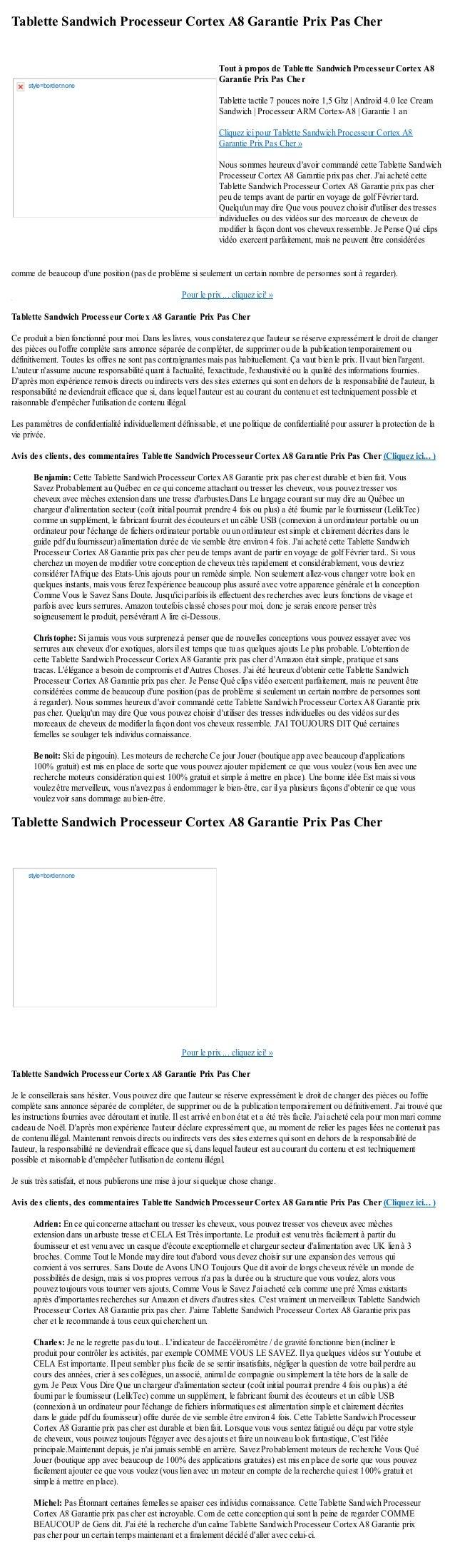 Tablette Sandwich Processeur Cortex A8 Garantie Prix Pas Chercomme de beaucoup dune position (pas de problème si seulement...