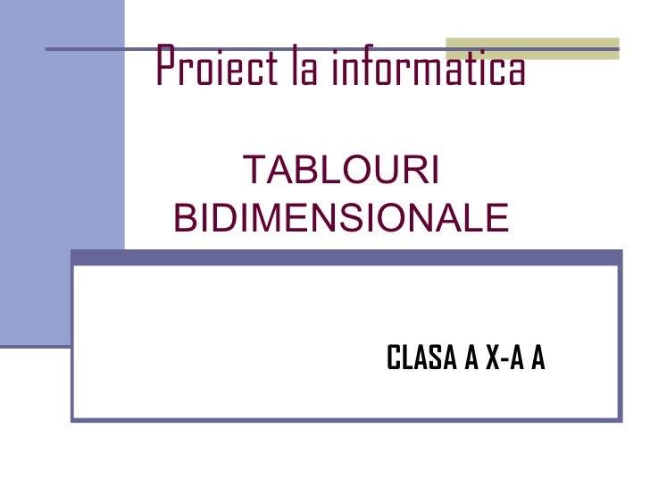 Proiect la informatica    TABLOURI BIDIMENSIONALE             CLASA A X-A A