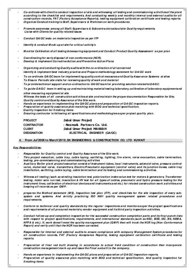 QA/QC Electrical & communication Engineer/Supervisor