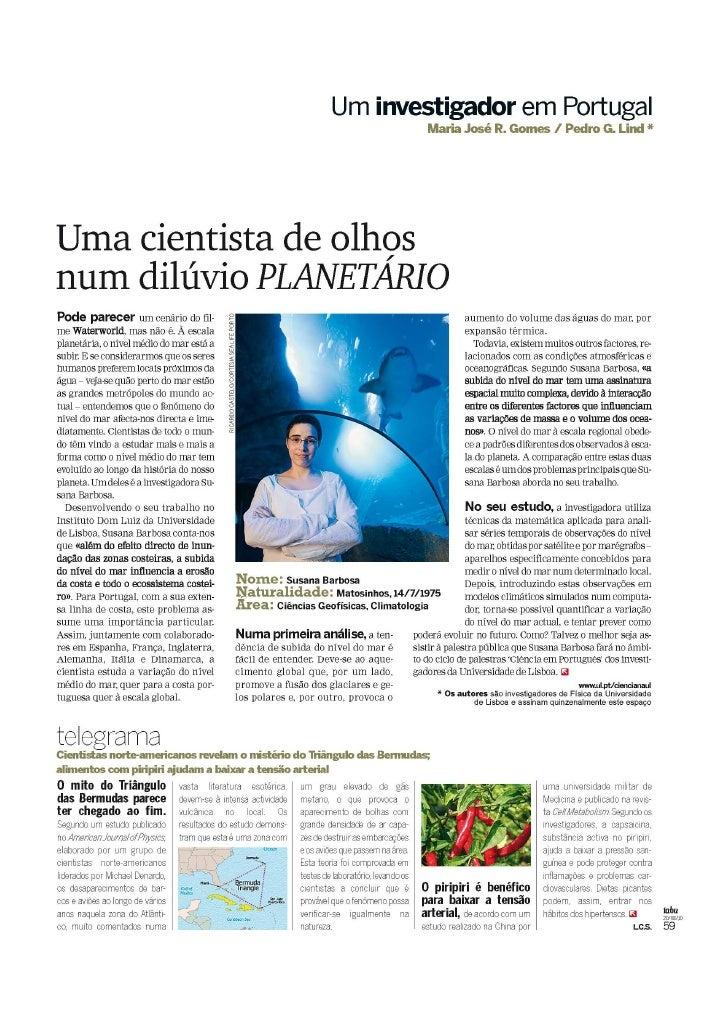 «Uma cientista de olhos num dilúvio PLANETÁRIO», RevistaTabu (SOL) 20-08-2010