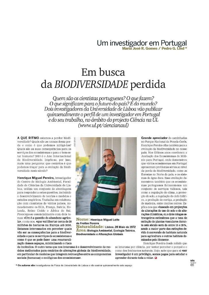 «Em busca da BIODEVERSIDADE perdida», Revista Tabu (SOL) 6-08-2010
