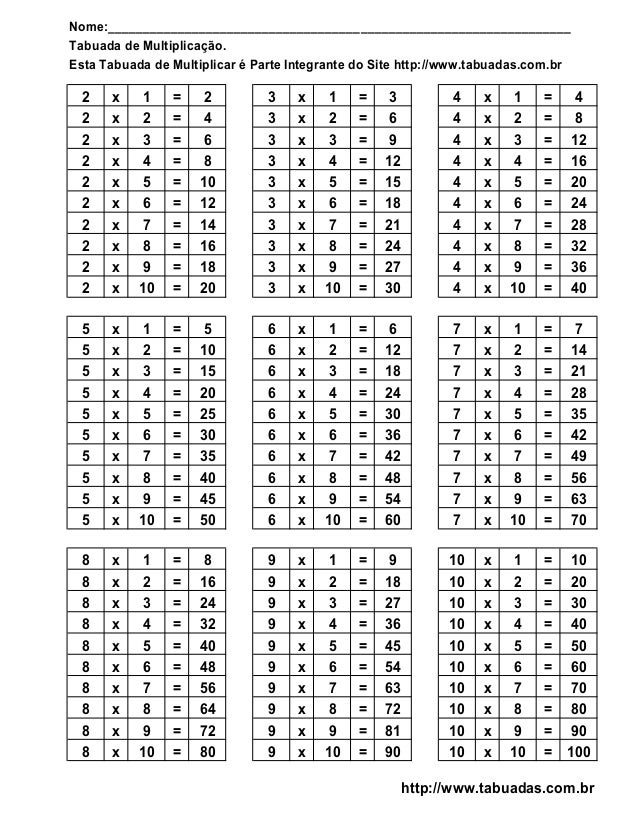 Tabuada De Multiplicacao