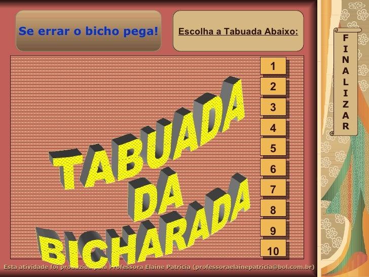 TABUADA DA BICHARADA 1 2 3 4 5 6 7 8 9 10 F I N A L I Z A R Escolha a Tabuada Abaixo: