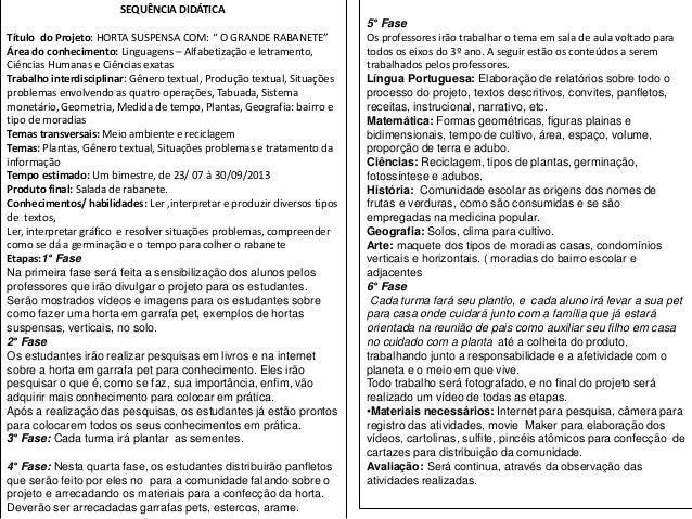 """SEQUÊNCIA DIDÁTICA Título do Projeto: HORTA SUSPENSA COM: """" O GRANDE RABANETE"""" Área do conhecimento: Linguagens – Alfabeti..."""
