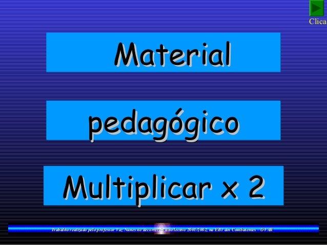 MaterialMaterialMaterialMaterial pedagógicopedagógicopedagógicopedagógico Multiplicar x 2Multiplicar x 2Multiplicar x 2Mul...