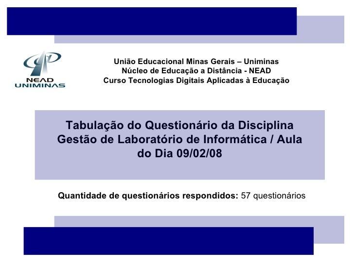 União Educacional Minas Gerais – Uniminas Núcleo de Educação a Distância - NEAD Curso Tecnologias Digitais Aplicadas à Edu...