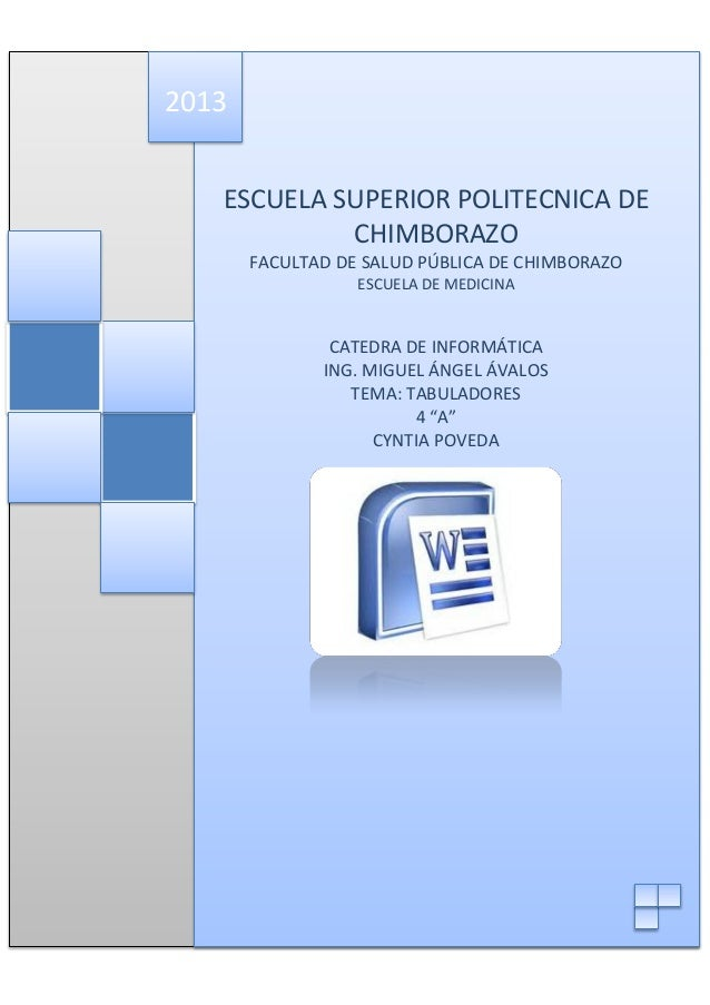 2013 ESCUELA SUPERIOR POLITECNICA DE CHIMBORAZO FACULTAD DE SALUD PÚBLICA DE CHIMBORAZO ESCUELA DE MEDICINA  CATEDRA DE IN...