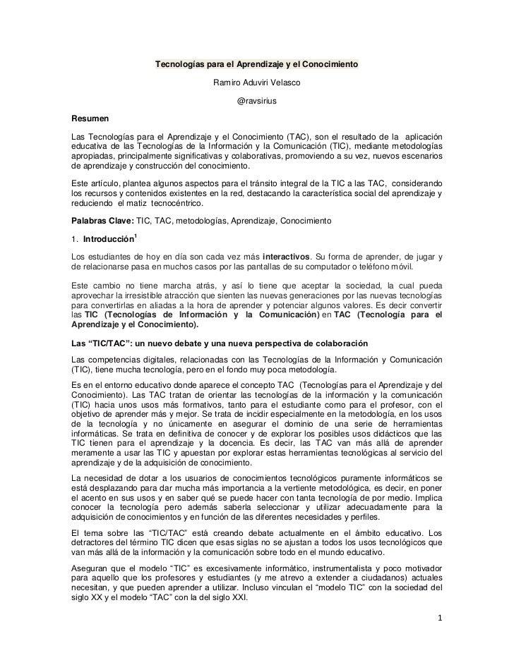 Tecnologías para el Aprendizaje y el Conocimiento                                      Ramiro Aduviri Velasco             ...