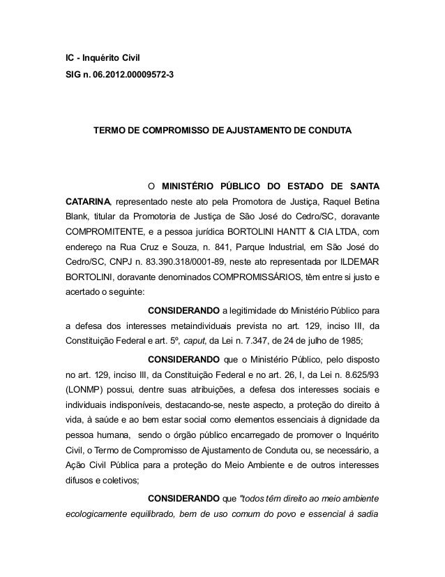 IC - Inquérito Civil SIG n. 06.2012.00009572-3 TERMO DE COMPROMISSO DE AJUSTAMENTO DE CONDUTA O MINISTÉRIO PÚBLICO DO ESTA...