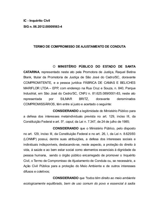 IC - Inquérito Civil SIG n. 06.2012.00009563-4 TERMO DE COMPROMISSO DE AJUSTAMENTO DE CONDUTA O MINISTÉRIO PÚBLICO DO ESTA...