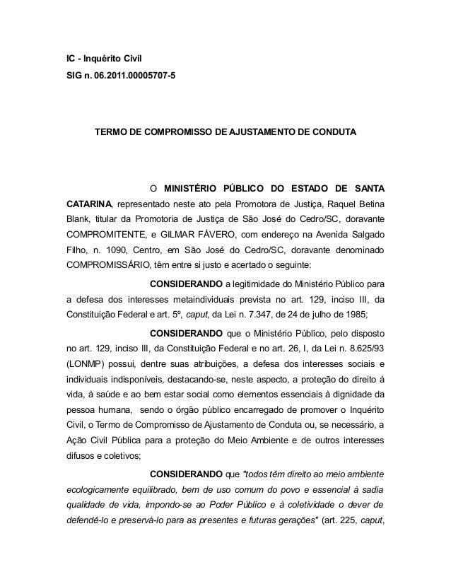 IC - Inquérito Civil SIG n. 06.2011.00005707-5 TERMO DE COMPROMISSO DE AJUSTAMENTO DE CONDUTA O MINISTÉRIO PÚBLICO DO ESTA...