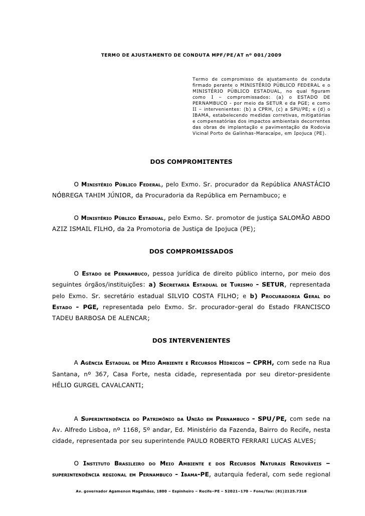 TERMO DE AJUSTAMENTO DE CONDUTA MPF/PE/AT nº 001/2009                                                                Termo...